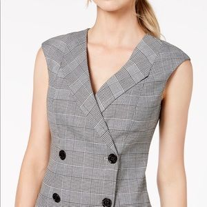 Plaid buttoned coat vest dress grey